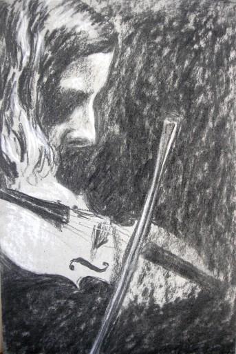 Aoife Granville, charcoal sketch, 24 x 16cm, image