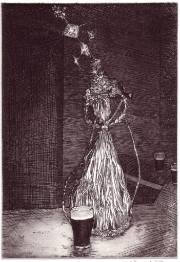 Sos ar an Dreoilín, copper plate etching, image