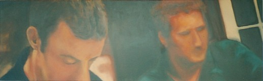 Mick & Des, oil on board, image