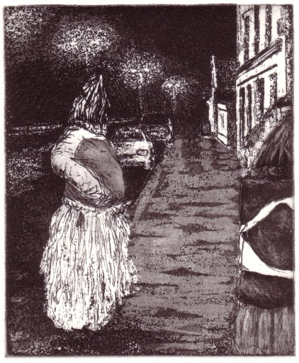 Dreoilín Báite, copperplate etching, plate size 12 x 9.5cm, image