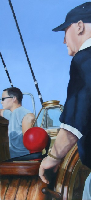 Helmsman, oil on board, 83 x 39cm,image