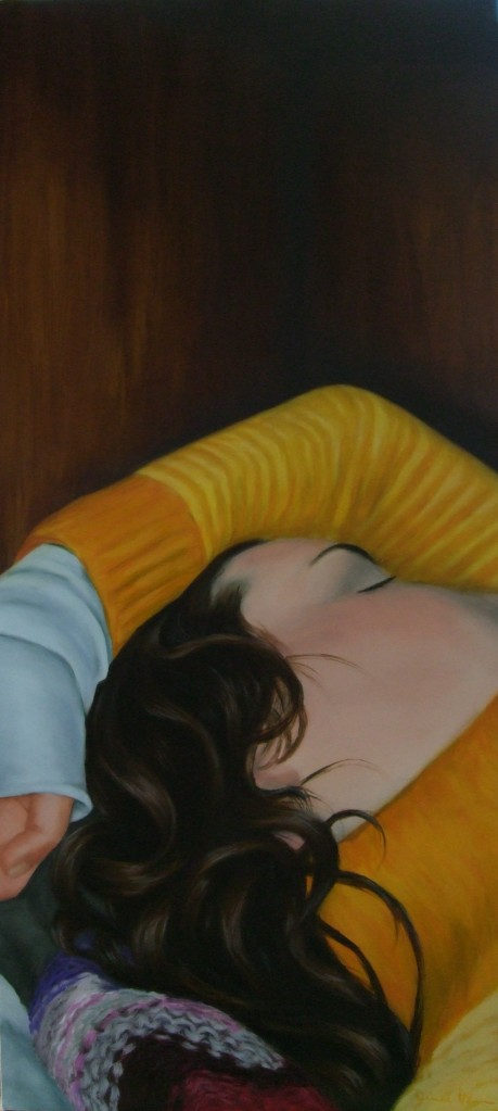 In the bunk, oil on board, 93 x 42cm, image