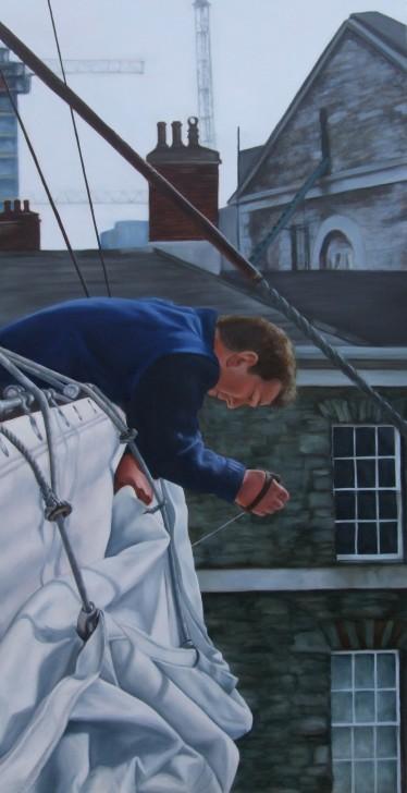 Mending the course, Asgard II, custom house quay, oil on canvas, 152 x77cm, image