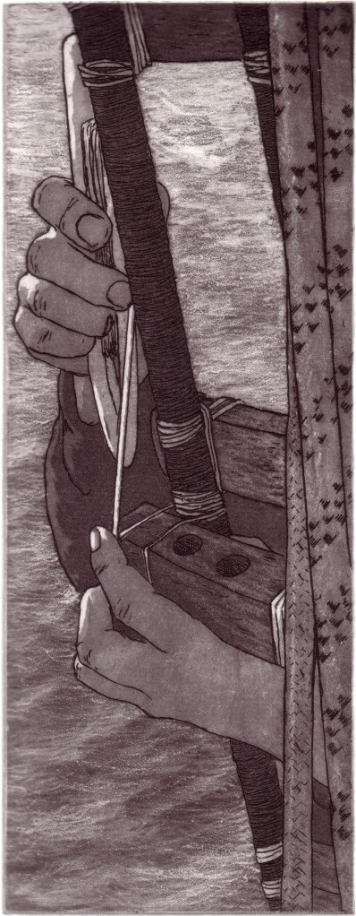 Mending the Rigging, copperplate etching,image