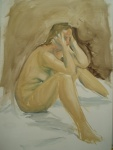 Model on the Floor, oil on paper, image