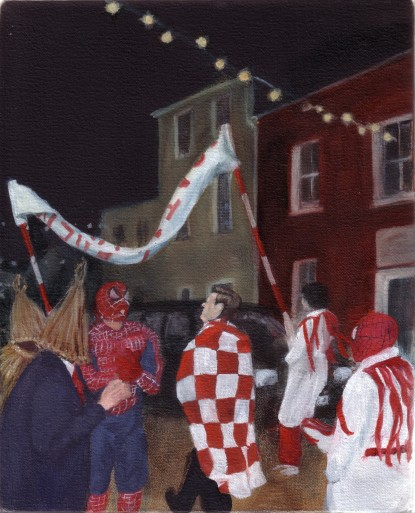 "Spidermen on Goat St, 10"" x 8"", oil on canvas"