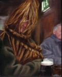 Straws and Pints, oil on canvas, !0″ x 8″