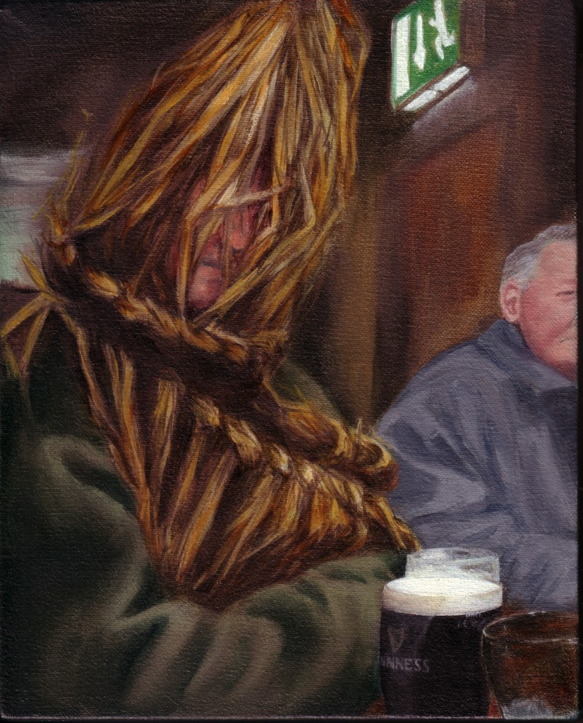 "Straws and Pints, oil on canvas, !0"" x 8"", image"