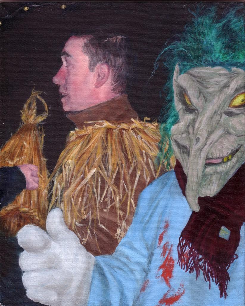 Wrenboys, 09,10x8in, oil on canvas, image