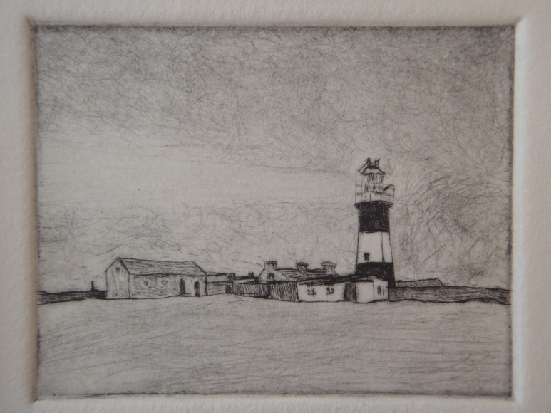 Teach Solais ar Oileán Thoraí, copperplate drypoint , 78mm x 60mm, image