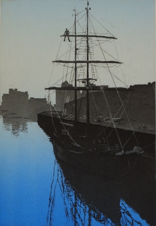 Asgard II, Cork Harbour - etching & aquatint - edition size 8 -only 2 left!