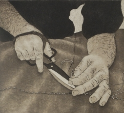 Mending Sails - Copperplate etching & aquatint - edition size 13